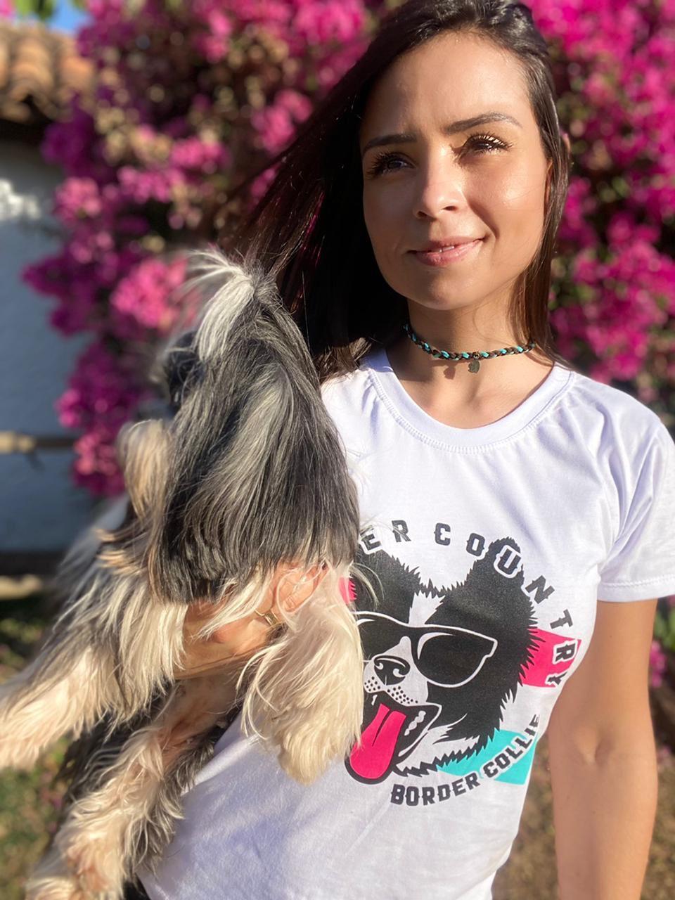 T-SHIRT FEMININA POWER COUNTRY BRANCA DOG