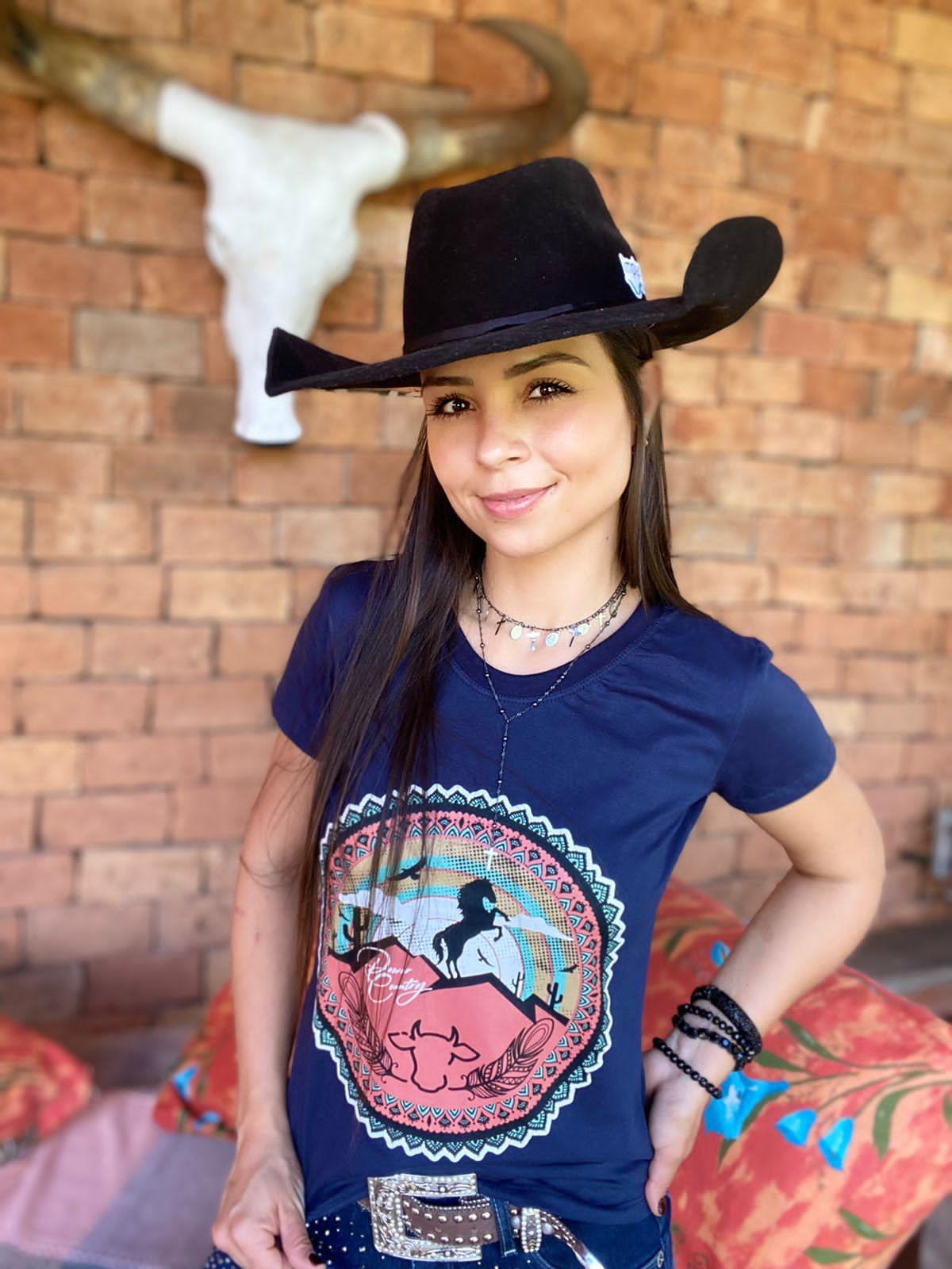 T-SHIRT FEMININA POWER COUNTRY MARINHO PWC