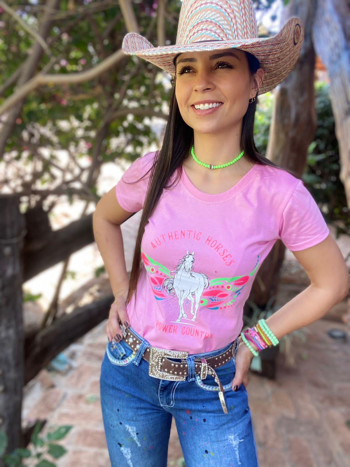 T-SHIRT FEMININA POWER COUNTRY ROSA AUTHENTIC HORSE
