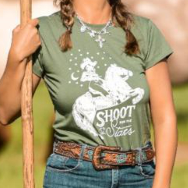 T-SHIRT FEMININA POWER COUNTRY VERDE MILITAR SHOOT