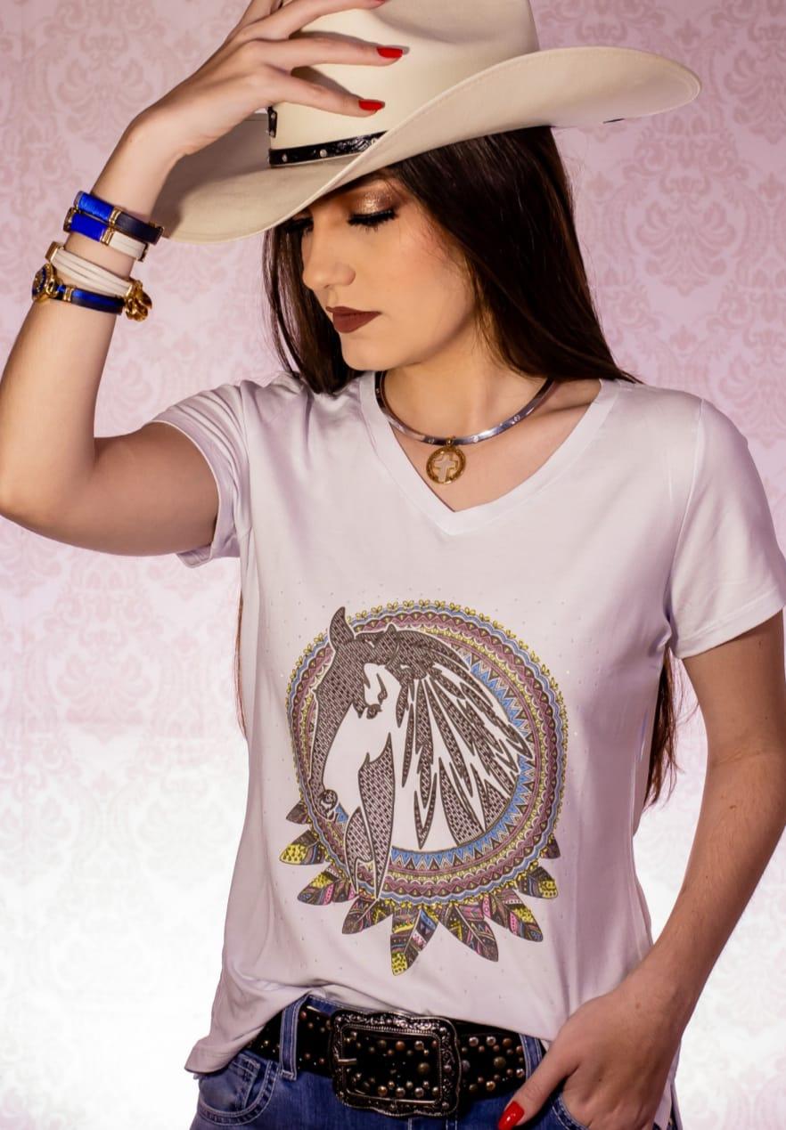 T-SHIRT FEMININA ZOE WESTERN BRANCA COM STRASS 2117