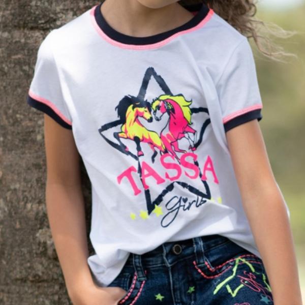 T-SHIRT INFANTIL FEMININA TASSA BRANCA CONFORT STAR 4649