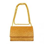 Bolsa de Ombro Alça Corrente em Glitter Dourado