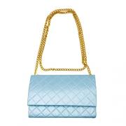 Bolsa de Ombro Alça Corrente Textura Azul Claro