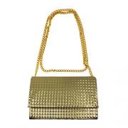 Bolsa de Ombro Alça Corrente Textura Dourada