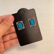 Brinco Biju Retangular Com Pedra Azul