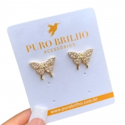 Brinco Borboleta Papilio Cravejado em Zircônias Folheado a Ouro 18K