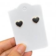 Brinco Semijoia Coração Com Aplicações De Micro Zircônias Preta