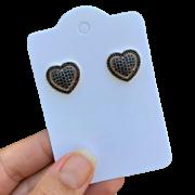 Brinco Semijoia Coração com Aplicações de Micro Zircônias Pretas e Borda Removível Folheado a Ouro 18k