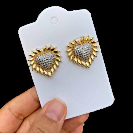 Brinco Semijoia Coração com Aplicações de Ródio Branco e Bordas Douradas Folheado a Ouro 18K