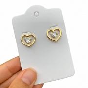 Brinco Semijoia Coração Vazado com Pedra Zircônia Central Folheado a Ouro 18K