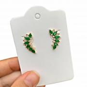 Brinco Semijoia Ear Cuff com Gotas e Micro Zircônias Verde Escuro Leitoso Folheado a Ouro 18k