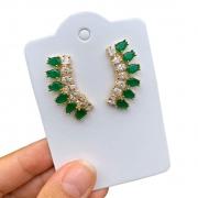 Brinco Semijoia Ear Cuff com Zircônias e Cristal Verde Escuro Folheado a Ouro 18K