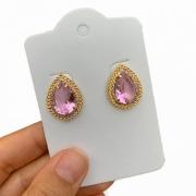 Brinco Semijoia Em Gota Cristal Rosa E Aplicação De Caneta Ródio Folheado A Ouro 18k