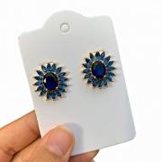 Brinco Semijoia Formato Flor Com Pétalas Em Navetes Azul Escuro Folheado A Ouro 18k