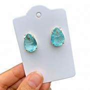 Brinco Semijoia Gota com Pedra Fusion Azul Tiffany Folheado a Ouro 18K