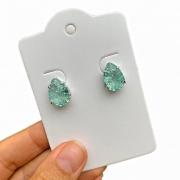 Brinco Semijoia Gota Com Pedra Fusion Verde Claro Folheado A Ródio Branco