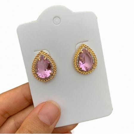 Brinco Semijoia Gota Cristal Rosa e Aplicação de Caneta Ródio Folheado a Ouro 18K