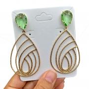 Brinco Semijoia Gota Estilizada com Cristal Verde Claro Folheado a Ouro 18K