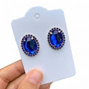 Brinco Semijoia Oval com Aplicações em Cristais Azul Marinho Folheado a Ouro 18K