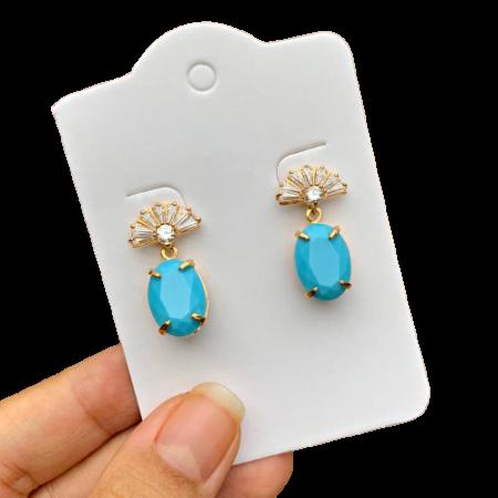 Brinco Semijoia Pedra Azul Claro Leitoso com Mini Leque Folheado a Ouro 18K