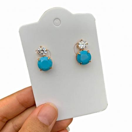 Brinco Semijoia Pedra Azul Claro Leitoso com Zircônia Folheado a Ouro 18K