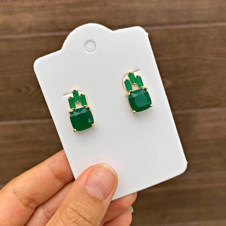 Brinco Semijoia Pequeno com Cristal Verde Leitoso Folheado a Ouro 18K