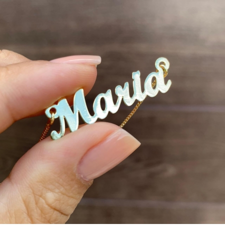 Colar com Nome em Letra Cursiva Personalizado Folheado em Ouro 18k