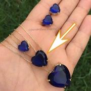 Colar com Pingente Coração Médio Cristal Azul Folheado a Ouro 18k