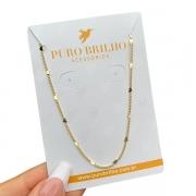 Colar Correntaria com Detalhe de Mini Corações 80 cm Folheado a Ouro 18K
