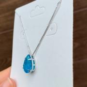 Colar Pedra Fusion Azul Folheado a Ródio Branco