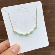 Colar Semijoia Com Pedras Gotas Azul Leitoso E Aplicações De Cristais Brancos Folheado A Ouro 18k