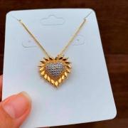 Colar Semijoia Coração Com Aplicação De Caneta Ródio Folheado A Ouro 18k