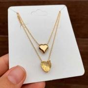 Colar Semijoia Escapulário Corações Com Pedra Amarelo Fusion Folheado A Ouro 18k