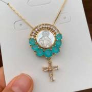 Colar Semijoia Nossa Senhora Com Pedra Azul Leitosa Folheado A Ouro 18k