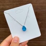 Colar Semijoia Pedra Fusion Azul Folheado A Ródio Branco