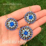 COLAR SEMIJOIA PINGENTE 3 EM 1 COM APLICAÇÃO EM CRISTAIS CORES DIVERSAS-cristal azul escuro