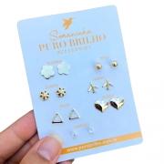 Kit de sete brincos variados folheados em ouro 18k - 06