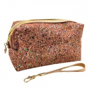Necessaire Retangular Rosé Com Glitter