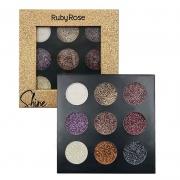 Paleta Shine Glitter Cremoso Ruby Rose - Dourada