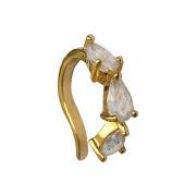 Piercing de pressão cravejado com zircônias formato gota folheado em ouro 18k