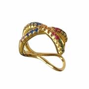 Piercing de pressão fios cruzados cravejado com zircônias coloridas folheado em ouro 18k