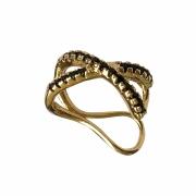 Piercing de pressão fios cruzados cravejado com zircônias pretas folheado em ouro 18k