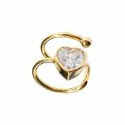 Piercing de pressão formato de coração cristal branco folheado em ouro 18k