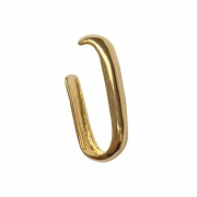 Piercing de pressão retangular boleado liso folheado em ouro 18k
