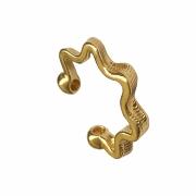 Piercing de pressão zig zag texturizado folheado em ouro 18k