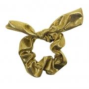 Pompom Scrunchie Dourado Metálico