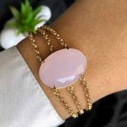 Pulseira Semijoia 3 Em 1 Com Pedra Grande Rosa Claro Leitoso Folheado A Ouro 18k