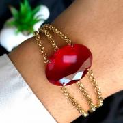 Pulseira Semijoia 3 Em 1 Com Pedra Grande Vermelho Escuro Folheado A Ouro 18k