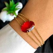 Pulseira Semijoia 3 Em 1 Com Pedra Média Vermelho Escuro Folheado A Ouro 18k